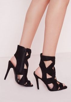 Geometric Cut Out Heeled Sandals Black