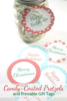 Give the gift of candy-coated pretzels this Christmas with the help of these pretty printable gift tags