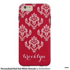 Personalized Red And White Damask Tough iPhone 6 Plus Case