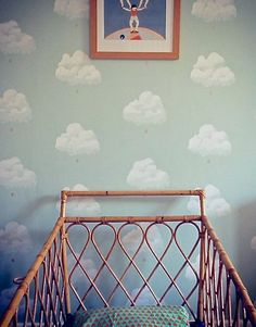 """Bartsch """"Cotton Clouds"""" wallpaper. Childrens are so happy that they deserve a colorfull place to be in. Decorate your children room with colorfull chandeliers, and a modern bed. See more home design ideas at www.homedesignideas.eu"""