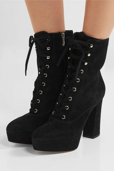 Gianvito Rossi - Lace-up Suede Ankle Boots - Black - IT37.5