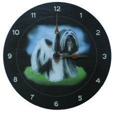 Lhasa Apso Clock On Welsh Slate Lhasa Apso, Welsh, Slate, Floral Design, Cushions, Clock, Tapestry, Gifts, Ideas