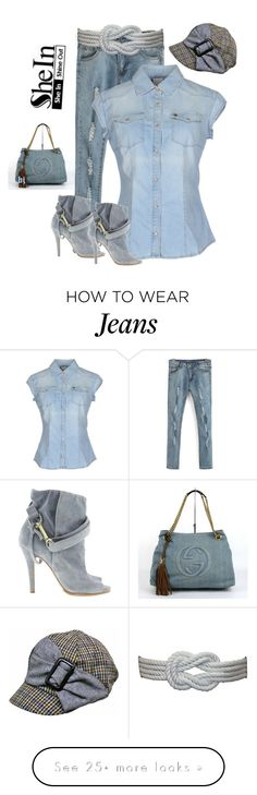 """SheIn Blue Ripped Skinny Denim Pant"" by jacksondobe on Polyvore featuring (+) PEOPLE, Maison Margiela, Posh Girl, women's clothing, women's fashion, women, female, woman, misses and juniors"
