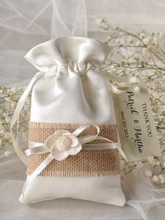Rustic Wedding Favor Bag, Burlap Wedding Favor Bags