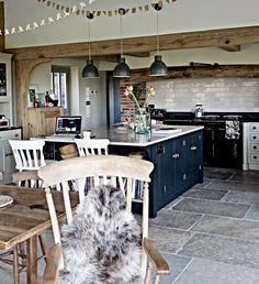 The Lane kitchen-sarah-jane down the lane.I like the floors and beams Aga Kitchen, Kitchen Flooring, Kitchen Backsplash, Kitchen Dining, Kitchen Wood, Basement Kitchen, Kitchen Cabinets, Rustic Hardwood Floors, Wood Tile Floors