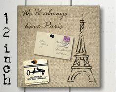 Stenciled burlap message board - Eiffel Tower
