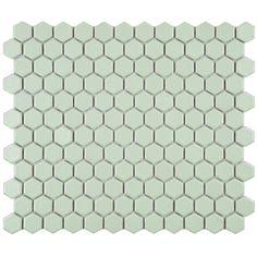 SomerTile 10.25x11.75-in Victorian Hex Light Green Porcelain Mosaic Tile (Pack of 10) | Overstock.com