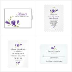 Purple Fragrant Freesia Flower Wedding Invitations #zazzle #weddings #floral - by La Bella Rue