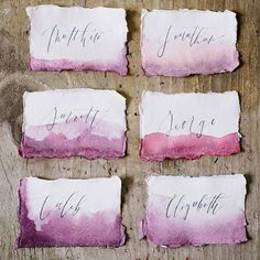 So in love with these watercolor name cards from @wildfieldpaperco!