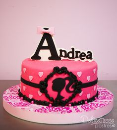Barbie Cake ~ love the name topper :)