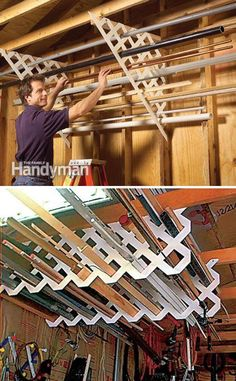Create a Garage Storage System On The Ceiling of Your Garage! Create a Garage Storage System On The Ceiling of Your Garage! Garage Organization Tips, Garage Storage Systems, Diy Garage Storage, Shed Storage, Storage Ideas, Wall Storage, Diy Garage Work Bench, Garage Tool Organization, Ceiling Storage