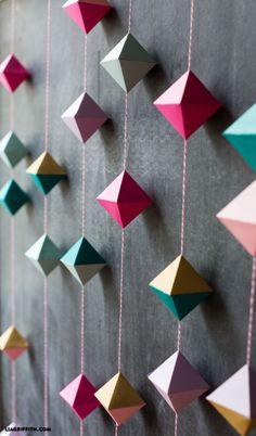 DIY: Paper Geometric Garland ~ اصنعها بنفسك: زينة الأشكال الهندسية الورقية