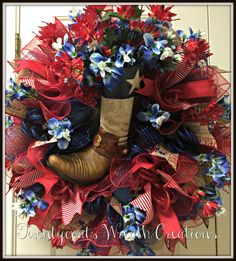 Texas Boot deco mesh wreath with bluebonnets and Indian paintbrush flowers. Twentycoats Wreath Creations (2016)