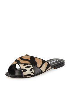 Otawi+Calf-Hair+Flat+Slide+Sandal+by+Manolo+Blahnik+at+Bergdorf+Goodman.