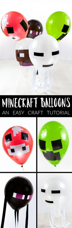 Minecraft Balloons - what a fun idea for a minecraft party!