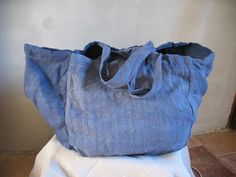 Antique French washed chanvre or hemp market tote bag, hand made and dyed indigo…