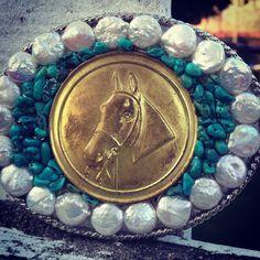 Vintage horse ribbon brooch buckle