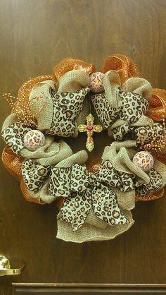 Burlap & animal print wreath. Love it!