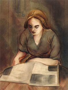 Leitora, 1918 Christian Arnold (Alemanha, 1889-1960) Aquarela