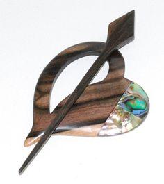 Exquisite Driftwood Chakra with Pawa shell Shawl Pin