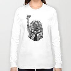 Aztec Droid Helmet black and white pencils sketch Long Sleeve T-shirt #longsleeve #tshirt #tee #clothing #starwars #aztec #darthvader #starlord #bobaffet