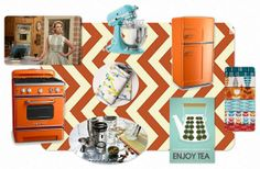 Kitchen , Retro Kitchen Accessories Bring Back Past Memories into Your Cooking Space : Retro Kitchen Accessories With Orange Theme And Class...