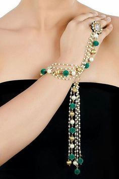 Pearl and Green Pompom Tassel Hathphool. 7 Day Delivery Guarantee Worldwide…what is the price Hand Accessories, Wedding Accessories, Women Accessories, Hand Jewelry, India Jewelry, Hand Bracelet, Bangle Bracelets, Bangles, Jewelry Photography