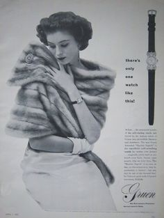 """This 1952 Gruen watch ad entitled """"There's Only One Watch Like This"""" exudes Mid-Century grace and refinement."""