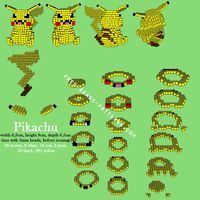 Pikachu Pokemon 3D Perler Beads Hama Beads Pyssla free pattern download