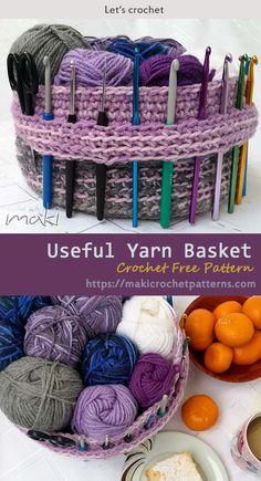 Crochet basket 646125877767275336 - Useful Yarn Basket Crochet Free Pattern Source by Yarn Projects, Knitting Projects, Crochet Projects, Knitting Patterns, Sewing Projects, Crochet Patterns, Easy Patterns, Beau Crochet, Crochet Diy