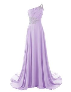 $100, Diyouth One Shoulder Beaded Long Mermaid Bridesmaid Dresses with Train Lavender Size 8