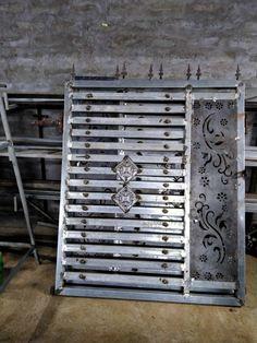 Steel Gate Design, Front Gate Design, Door Gate Design, Metal Doors, Iron Doors, Iron Fence Gate, Porch Gate, Window Grill Design, Front Gates