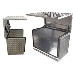 *1060 grade Aluminium Checker Plate/Steel/stainless steel *Gas Struts and chain *Foldable flush handle *Stainless steel hinge *Latch lock match 2 key *T-Lock,Paddle lock,buckle *Dust and Water Resistant rubber seals *Larger box will add extra enforce plate on the lid *We can make just about any size and shape you require from aluminum or steel,checker plate or powder coated. www.xc-hp.com , info@xc-hp.com Cargo Trailer Conversion, Cargo Trailer Camper, Overland Trailer, Cargo Trailers, Utility Trailer, Camper Conversion, Truck Camper, Truck Bed, Truck Tools