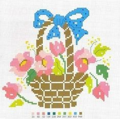 123 Cross Stitch, Cross Stitch Flowers, Cross Stitch Patterns, Crochet Bedspread, Diagram, Lily, Kids Rugs, Baskets, Crochet Sunflower