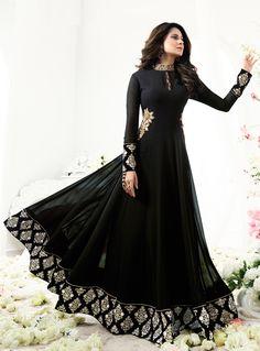 Jennifer Winget Black Georgette Floor Length Anarkali Suit 96956