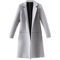 Blackfive Md-long Notched Lapels Open Front Slim Cotton Coat (360 GTQ) ❤ liked on Polyvore featuring outerwear, coats, jackets, coats & jackets, blackfive, cotton long coat, light grey coat, long lapel coat, long gray coat and slim long coat
