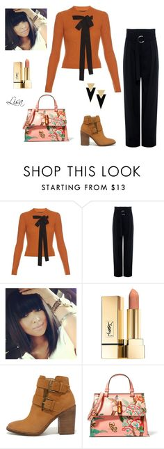 """""""Untitled #4249"""" by coolmommy44 ❤ liked on Polyvore featuring Rochas, IRO, Steve Madden, Gucci and Yves Saint Laurent"""