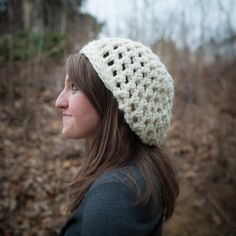 White/ Cream Slouchy Hat, chunky knit crochet, beanie, winter hat. $26.00, via Etsy.