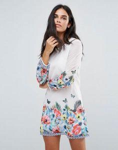 Yumi Tropical Border Print Shift Dress