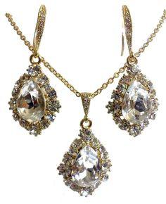 Gold Bridal Jewelry Set Drop Bridal Earrings Teardrop by YJDesign