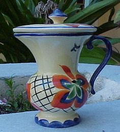 czech art deco pottery lostro covered pitcher 310 liter