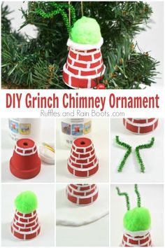 DIY Grinch Ornament - The Grinch is Stuck in a Chimney! This funny DIY Grinch ornament shows the big The Grinch, Grinch Trees, Grinch Christmas Decorations, Grinch Christmas Party, Grinch Ornaments, Christmas Crafts For Kids, Christmas Activities, Diy Christmas Ornaments, Xmas Crafts