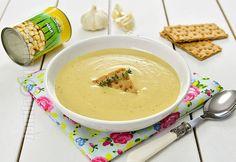 Roasted garlic and chickpeas soup (CC En Sub) Veg Recipes, Sweet Recipes, Whole Food Recipes, Vegetarian Recipes, Yummy Recipes, Garlic Soup, Roasted Garlic, Hungarian Recipes, Food Challenge