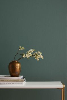 "Current Mood by Clare- a mysterious, moody green paint color that's intense and alluring all at once. ""THE DESIGN TRENDS THAT WILL BE IN AND OUT IN Elle Decor. Easy paint colors for your living Green Paint Colors, Interior Paint Colors, Room Colors, Green Wall Color, Modern Paint Colors, Color Walls, Gray Green, Interior Walls, Kitchen Interior"