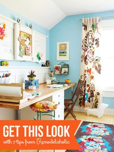 Colorful Shared Home Office and Homework Station | 7 Tips from Remodelaholic.com #getthislook #organized #sharedoffice