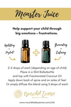 Calm Your Toddlers Emotions with Monster Juice - Nourished Essence With Matt & Nat Essential Oils For Babies, Essential Oils For Kids, Essential Oil Uses, Doterra Essential Oils, Doterra Blends, Essential Oil Diffuser Blends, Nyx Matte, Matte Lipsticks, Kids Health