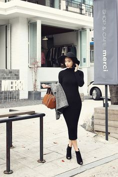 Long Slim Rib Dress