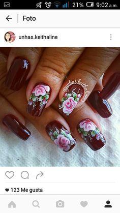 Elegant Nail Designs, Flower Nail Designs, Pretty Nail Designs, Cute Acrylic Nails, Cute Nails, Pretty Nails, Nail Polish Designs, Nail Art Designs, Red Nails
