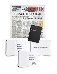 """""""What Frost Believes"""" campaign little black book WSJ insertion."""
