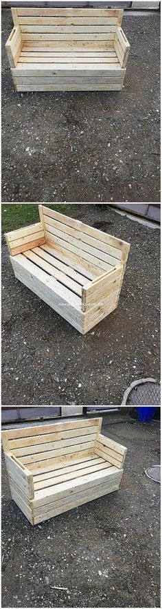 Much a simple and plain form of the pallet stacking designing has been carried out here in the form of garden bench variation. This bench is perfect meant for the garden outdoor areas. It is merely encountered with the simple and plain arrangement of the wood pallet all around it.